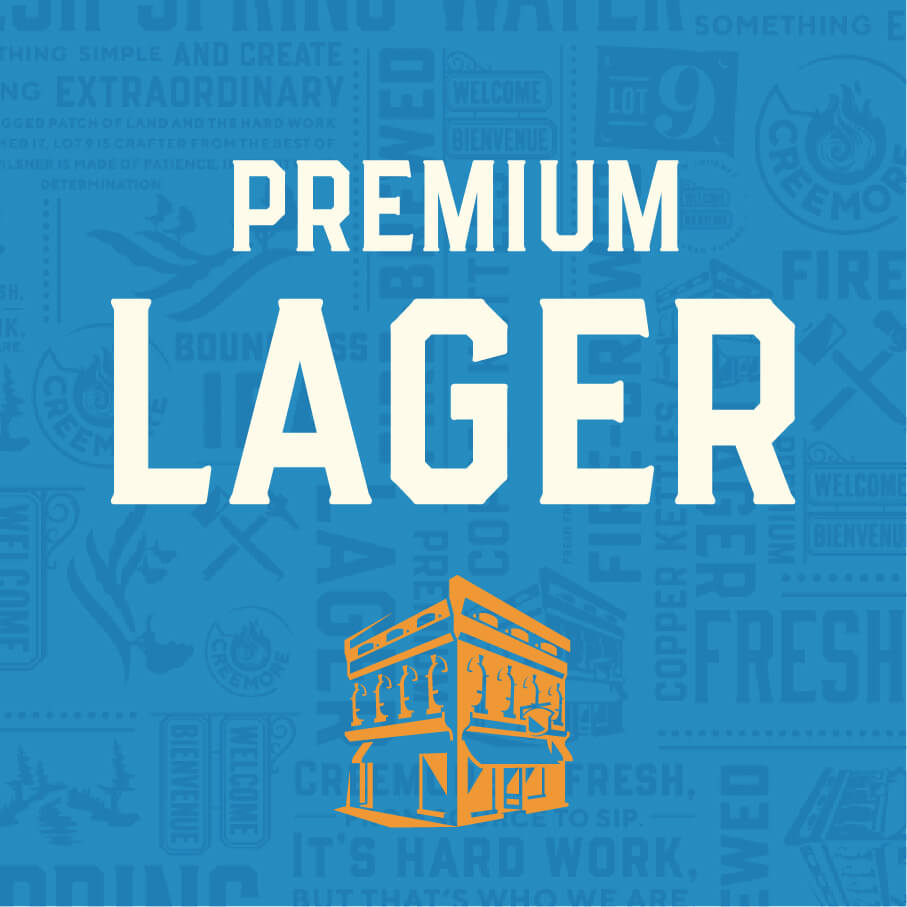 Premium Lager with building icon