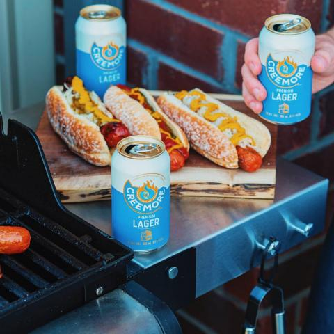 For #nationalhotdogday we're recommending you take a bite out of this gourmet hot dog. Next, wash it down with a fresh Creemore Premium Lager. And then, try and convince us that you'd be able to stop there. 🍻🌭 . . . #hotdogday #creemoresprings #ontario #creemore #beerstagram #beerlover #beer #craftbeer #brew #lager